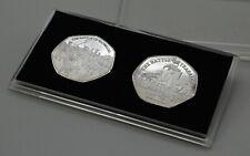More details for wellington & nelson silver commemoratives & 50p coin case. waterloo, trafalgar