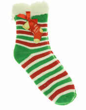 Gold Medal Christmas Women's Sherpa Lined Gripper Bootie Socks Red Green Stripe