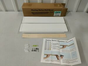 White Wooden Floating Shelves Crown Molding Wall Shelves Set of 2 - New Open Box