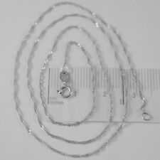 18K WHITE GOLD MINI SINGAPORE BRAID ROPE CHAIN 18 INCHES, 1 MM, MADE IN ITALY