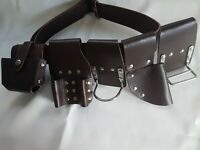 Scaffolding Brown Leather Tool Belt Hammer & Snip Cutter / Plier Holder 6 in 1