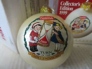 Campbell's 1999 Christmas Kid Glass Ball Ornament Collector Edition Original Box