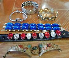 Lot 6 bracelets fantaisie vintage pierres, cuir, métal argenté V486