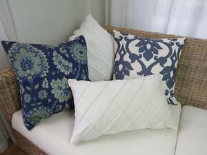 Home Mix & Match Hamptons Blue & White Home Decor Pillow Cushion Cover 45cm