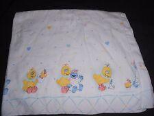Vintage Sesame Street Receiving Blanket Flannel Big Bird Cookie Monster Pastel