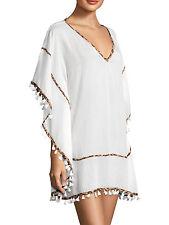 SOFIA by ViX Solid White & Leopard Trim Julie Caftan Cover Up $92 MSRP Size L