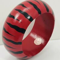 Vintage Bangle Bracelet Zebra Stripe Chunky Wood Animal Print Red Black