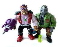 Mutatin Bebop & Rocksteady Vintage TMNT Ninja Turtles Action Figures Lot 1992