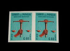 Vintage Stamp, PARAGUAY, 1960 UN HUMAN RIGHTS PRINTER'S DIE PROOF IMPERF PAIR