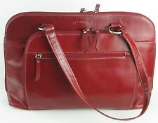 Franklin Covey Red Leather Laptop Bag Briefcase Heritage Travelware 722164