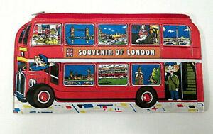 Vintage Souvenir of London Red Double Decker Bus Zip Pencil Bag 1980s England