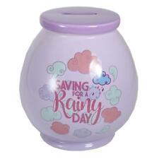 Violet Céramique pot d'argent / boîte avec Libellé - Jour de pluie