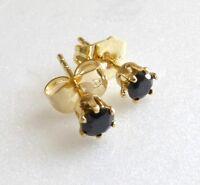 Black 4mm 14K Yellow Gold Plated Simulated Diamond Unisex Small Stud Earrings UK