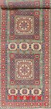 Geometric PALACE 20 ft Long Wide Runner GREEN Super Kazak Oriental Rug Wool 5x20
