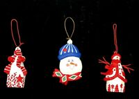 Lot of 3 Snowman Ornaments Wooden & Resin Hand Painted Shiny Cute Holiday Gift