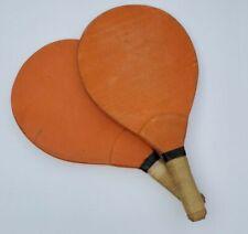 Vintage Sports Ping Pong Paddle Set Old Game Wooden Orange Table Tennis Antique