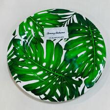 Tommy Bahama Tropical Palm Leaves Leaf Melamine Dinner Plates ~ Set of 4