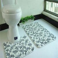 2 Pieces Cotton Bath Pedestal Mat Toilet Non Slip Washable Floor Rugs Sets_T RC#