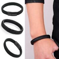 Men Handmade Braided Leather Biker Bracelet Magnetic Buckle Cuff Bangle Fas Top