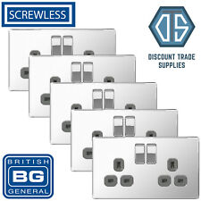 5x BG Screwless Double Socket Polished Chrome Grey Inserts FPC22G 13 Amp 2 Gang