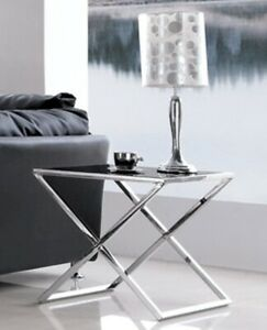 Lily Pollished Stainless Steel Side Table W/ Black Tempered Glass (Free Postage)