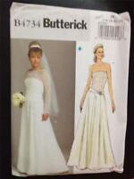 Butterick Sewing Pattern 4734 Ladies Misses Wedding Dress Gown Size 16-22 Uncut