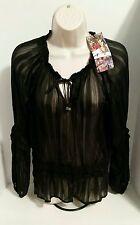 Spiegel Women's Black Sheer Pheasant Striped Blouse Size 12 NWT