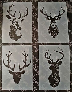 Shabby Chic vintage craft Stencil A7 105x74mm Mini Stag Deer Heads Plastic sheet