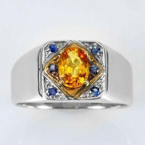 Natürlich Citrin & Blauer Saphir Edelstein Mit 925 Sterlingsilber Herren Ring