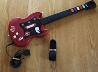 TESTED PS2 Guitar Hero Gibson Red Octane Wired Controller Model PSLGH w/ Strap