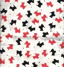 1 Yd Scottie Dog Cotton Flannel Fabric - Hot Pink and Black Scotties on White