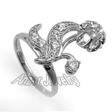 Russian Style Diamond Ring Semi-Mount in 14k Solid White Gold .#R1868.