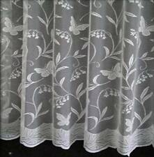 "BUTTERFLY WHITE NET CURTAINS   Sample Piece Half Meter 36"" Drop"