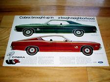 1969 FORD TORINO COBRA.ORIGINAL AD -Fairlane/GT/351/390/428/V8 engine/hood/heads
