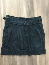 GAP WOMENS DESIGNER INDIGO BLUE DENIM MINI SKIRT SZ 6 UK PLEATED ADJUSTABLE