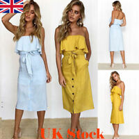 Womens Off-Shoulder  Midi Dress Ladies Summer Ruffle Belted Frill Dress UK