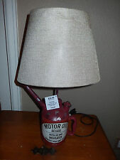 Vtg Style Distressed Motor Oil Deluxe Can Electric Table Lamp with Canvas Shade