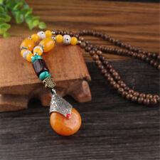 1pc Vintage Ethnic Wood Wooden Beaded Necklace Pendant Handmade Jewelry Bohemian #3