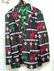 UGLY Christmas Deer Starburst Lined Blazer Jacket & Neck Tie Black Mens  XL/50