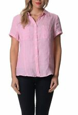 Linen Short Sleeve Regular Striped Tops & Blouses for Women