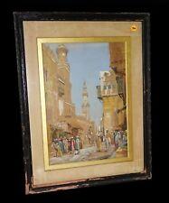 "1890 English Gouache Painting ""Cairo Street Scene"" by Arthur Trevor Haddon (Yir)"