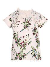 Koko Womens Plus Size Floral Print Crochet Detail Top