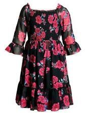"""NEW Emily West Girls Size 10 """"MIDNIGHT BLUE RED ROSES"""" Flowing Chiffon Dress NWT"""