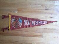 Vtg New Westminster British Columbia Pennant Felt Banner Canada Souvenir BC
