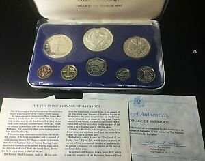 1974 First National Coinage of Barbados Proof Set $10 & $5 Sterling Silver w/COA
