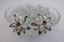 Pearl rhinestone hair pins set of two silver flowers hair jewelry bridal