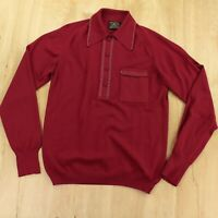 vtg 60s 70s PURITAN BAN-LON pocket knit polo shirt SMALL rockabilly mod red