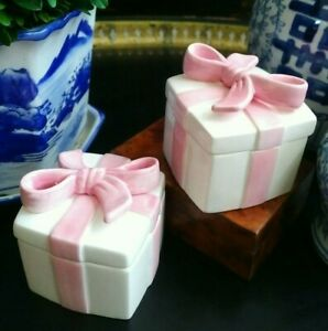 Preppy and Posh Rare Staffordshire Style Porcelain Pink Ribbon Bow Box Pair