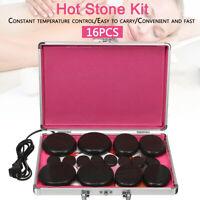 HOT 16Pcs Volcanic Stones Hot Massage Stone Kit Rock SPA Oiled Massager Box UK