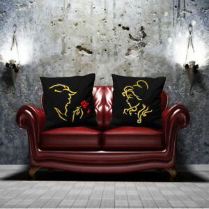 BEAUTY AND BEAST CUSHION COVER IN GOLD PRINT COUPLES PARTNERS VALENTINE LOVERS